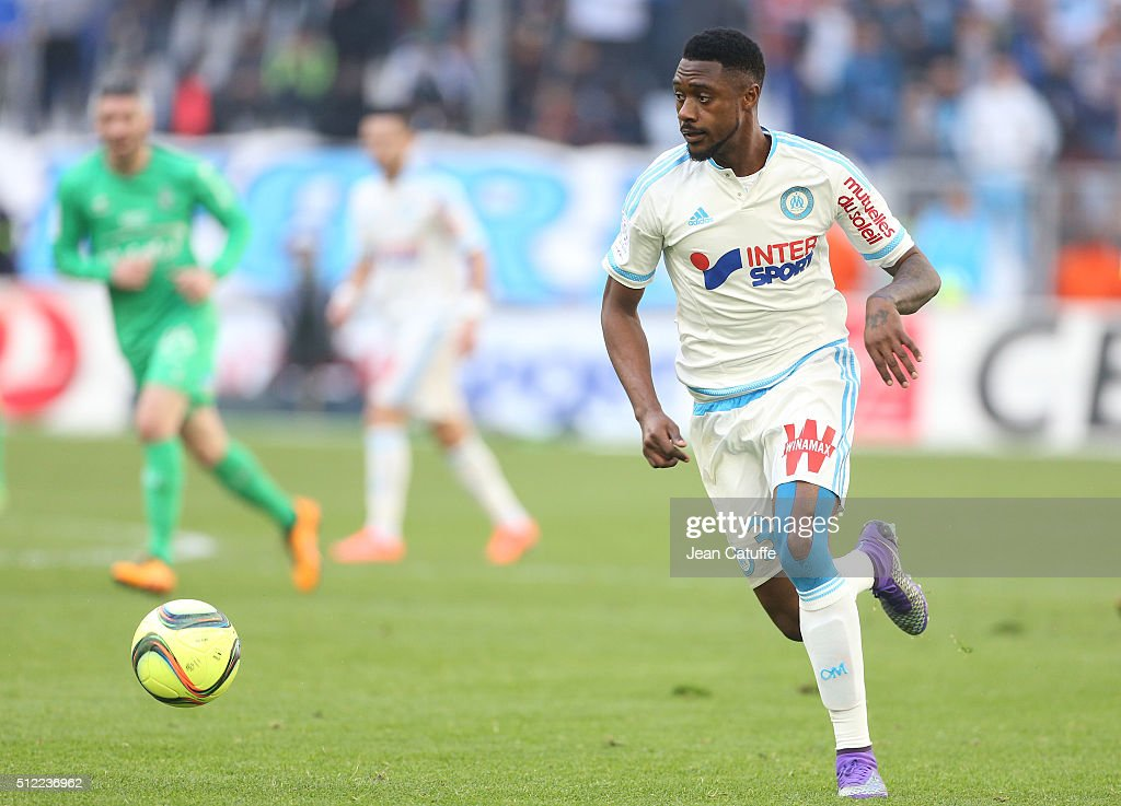 Nicolas N'Koulou of OM in action during the French Ligue 1 match between Olympique de Marseille (OM) and AS Saint-Etienne (ASSE) at New Stade Velodrome on February 21, 2016 in Marseille, France.