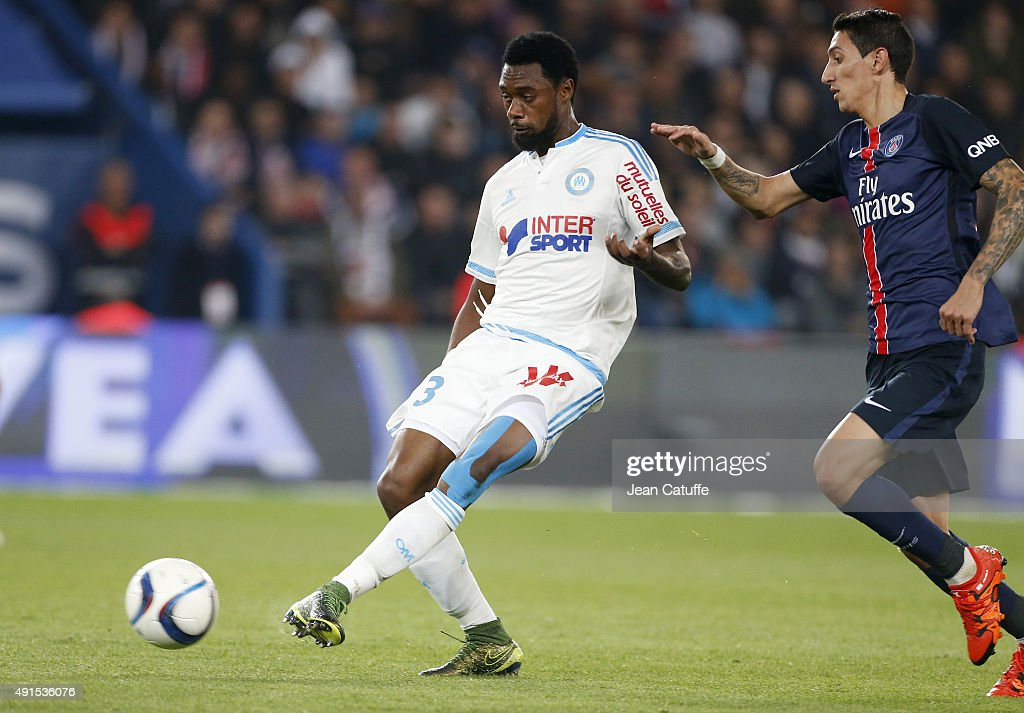 Nicolas N'Koulou of OM in action during the French Ligue 1 match between Paris Saint-Germain FC (PSG) and Olympique de Marseille at Parc des Princes stadium on October 4, 2015 in Paris, France.