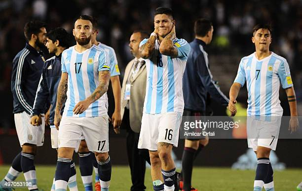 Nicolas Otamendi Marcos Rojo and Paulo Dybala of Argentina leave the field after a match between Argentina and Brazil as part of FIFA 2018 World Cup...
