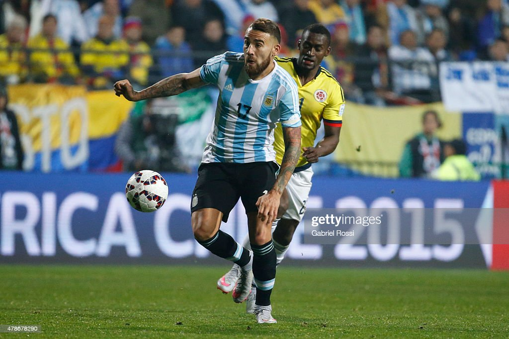 <a gi-track='captionPersonalityLinkClicked' href=/galleries/search?phrase=Nicolas+Otamendi&family=editorial&specificpeople=5863368 ng-click='$event.stopPropagation()'>Nicolas Otamendi</a> of Argentina goes for the ball during the 2015 Copa America Chile quarter final match between Argentina and Colombia at Sausalito Stadium on June 26, 2015 in Viña del Mar, Chile.