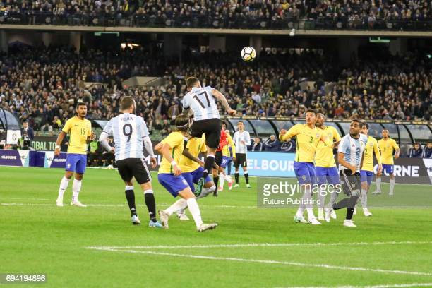 Nicolas Otamendi of Argentina heads a cross towards goal as Brazil plays Argentina in the Chevrolet Brasil Global Tour on June 9 2017 in Melbourne...