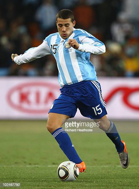 Nicolas Otamendi of Argentina in action during the 2010 FIFA World Cup South Africa Round of Sixteen match between Argentina and Mexico at Soccer...