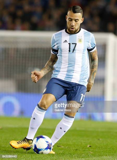 Nicolas Otamendi of Argentina kicks the ball during a match between Argentina and Venezuela as part of FIFA 2018 World Cup Qualifiers at Monumental...