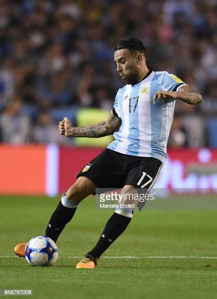 Nicolas Otamendi of Argentina kicks the ball during a match between Argentina and Peru as part of FIFA 2018 World Cup Qualifiers at Estadio Alberto J...