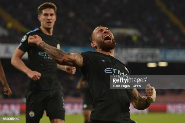 Nicolas Otamendi of Mancester City celebrates after scoring the equalizing goal during the UEFA Champions League group F match between SSC Napoli and...
