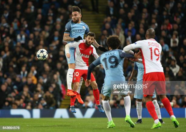 Nicolas Otamendi of Manchester City and Bernardo Silva of Monaco in action during the UEFA Champions League Round of 16 first leg match between...