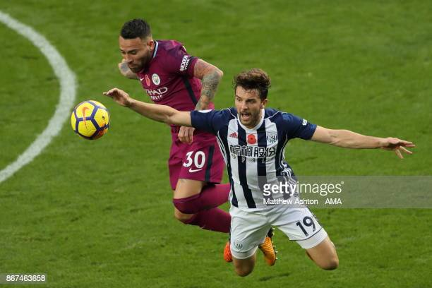 Nicolas Otamendi of Manchester City and Jay Rodriguez of West Bromwich Albion during the Premier League match between West Bromwich Albion and...