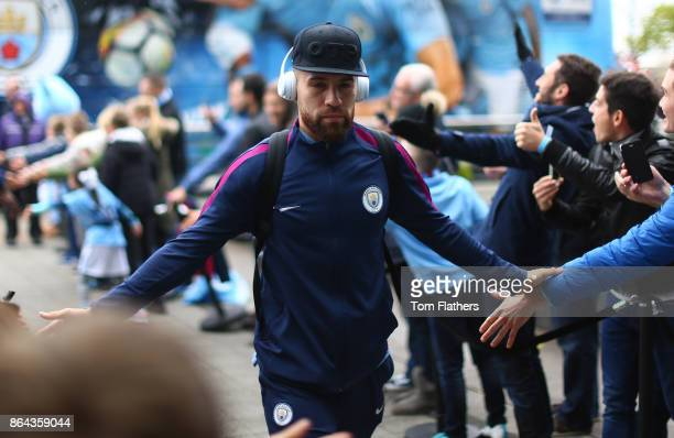 Nicolas Otamendi of Manchester City arrives during the Premier League match between Manchester City and Burnley at Etihad Stadium on October 21 2017...