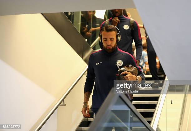 Nicolas Otamendi of Manchester City arrives prior to the Premier League match between Manchester City and Everton at Etihad Stadium on August 21 2017...