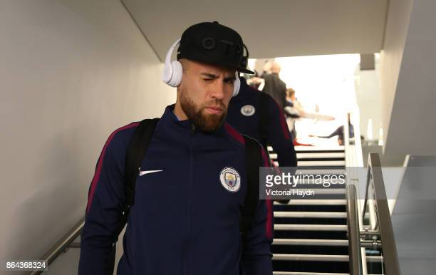 Nicolas Otamendi of Manchester City arrives prior to the Premier League match between Manchester City and Burnley at Etihad Stadium on October 21...
