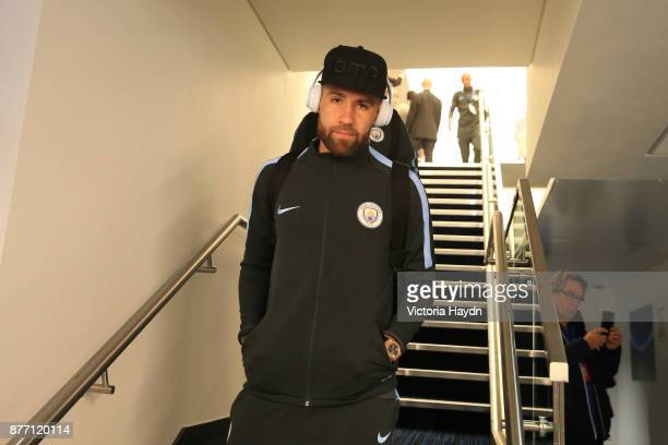 Nicolas Otamendi of Manchester City arrives to the stadium prior to the UEFA Champions League group F match between Manchester City and Feyenoord at...