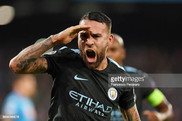 Nicolas Otamendi of Manchester City celebrates after scoring 11 goal during the UEFA Champions League group F match between SSC Napoli and Manchester...