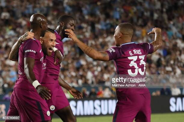 Nicolas Otamendi of Manchester City celebrates after scoring a goal to make it 10 during the International Champions Cup 2017 match between...