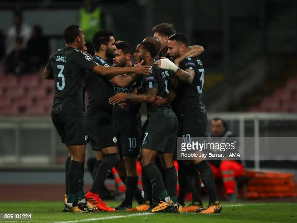 Nicolas Otamendi of Manchester City celebrates after scoring a goal to make it 11 during the UEFA Champions League group F match between SSC Napoli...