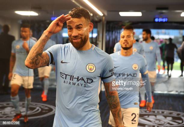 Nicolas Otamendi of Manchester City celebrates his side's win following the Premier League match between Manchester City and Burnley at Etihad...