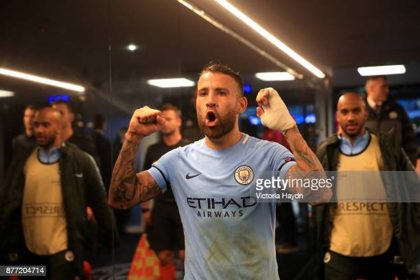 Nicolas Otamendi of Manchester City celebrates in the tunnel after the UEFA Champions League group F match between Manchester City and Feyenoord at...