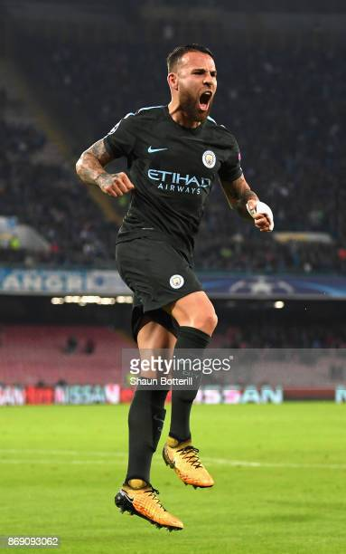 Nicolas Otamendi of Manchester City celebrates scoring his sides first goal during the UEFA Champions League group F match between SSC Napoli and...