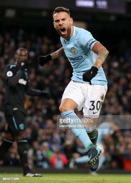 Nicolas Otamendi of Manchester City celebrates scoring his sides first goal during the Premier League match between Manchester City and West Ham...