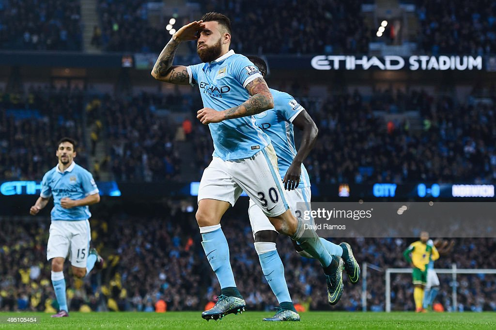 Nicolas Otamendi of Manchester City celebrates scoring his team's first goal during the Barclays Premier League match between Manchester City and Norwich City at Etihad Stadium on October 31, 2015 in Manchester, England.