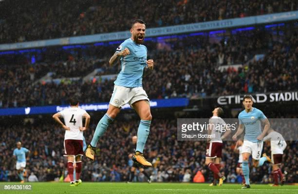Nicolas Otamendi of Manchester City celebrates scoring the 2nd Manchester City goal during the Premier League match between Manchester City and...