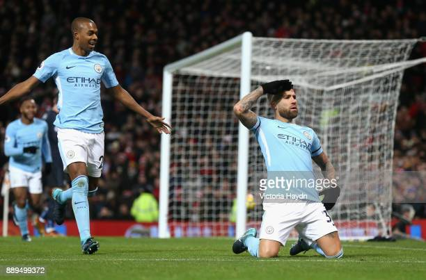 Nicolas Otamendi of Manchester City celebrates scoring the 2nd Manchester City goal with Fernandinho during the Premier League match between...