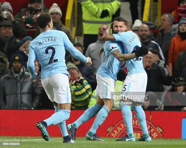 Nicolas Otamendi of Manchester City celebrates scoring their second goal during the Premier League match between Manchester United and Manchester...