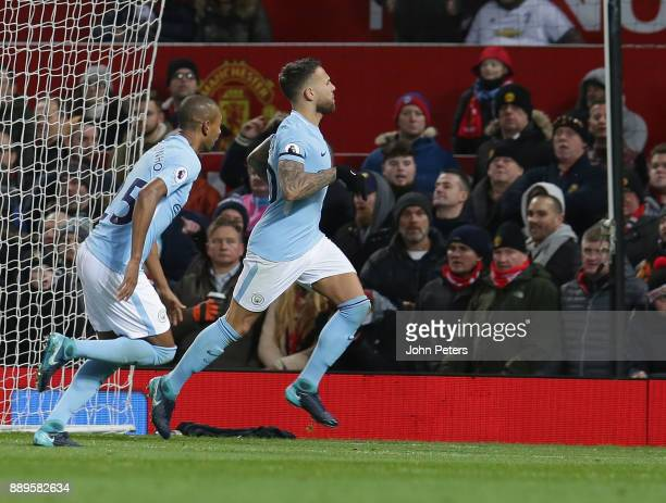 Nicolas Otamendi of Manchester City celebrates scoring their second goalduring the Premier League match between Manchester United and Manchester City...