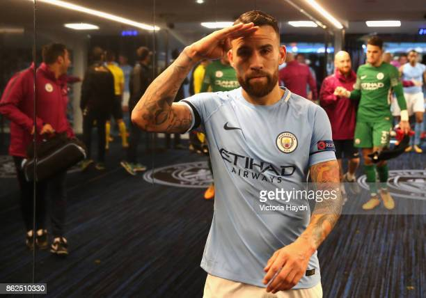 Nicolas Otamendi of Manchester City celebrates victory after the UEFA Champions League group F match between Manchester City and SSC Napoli at Etihad...