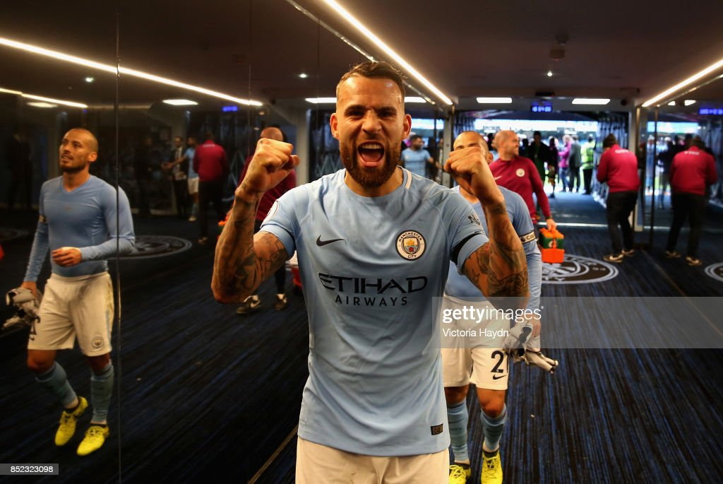 Nicolas Otamendi of Manchester City celebrates victroy after the Premier League match between Manchester City and Crystal Palace at Etihad Stadium on September 23, 2017 in Manchester, England.