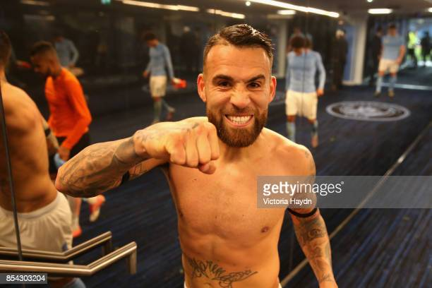 Nicolas Otamendi of Manchester City celebrates victroy in the tunnel after the UEFA Champions League Group F match between Manchester City and...