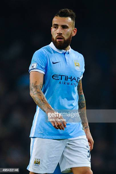 Nicolas Otamendi of Manchester City FC looks on during the Barclays Premier League match between Manchester City and Norwich City at Etihad Stadium...
