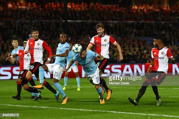 Nicolas Otamendi of Manchester City heads towards goal during the UEFA Champions League group F match between Feyenoord and Manchester City at...