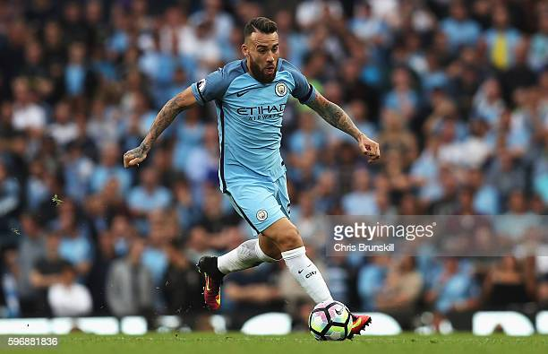 Nicolas Otamendi of Manchester City in action during the Premier League match between Manchester City and West Ham United at Etihad Stadium on August...