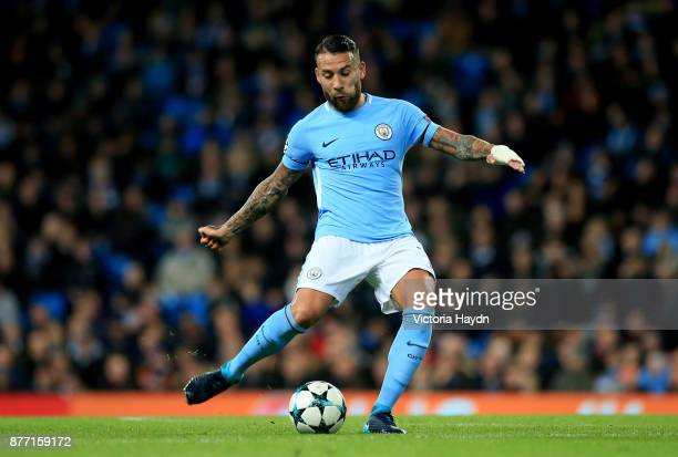 Nicolas Otamendi of Manchester City in action during the UEFA Champions League group F match between Manchester City and Feyenoord at Etihad Stadium...