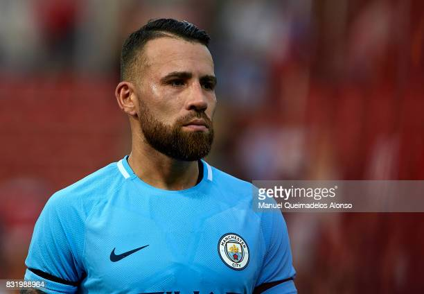 Nicolas Otamendi of Manchester City looks on after the end the preseason friendly match between Girona and Manchester City at Municipal de Montilivi...