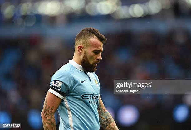 Nicolas Otamendi of Manchester City reacts during the Barclays Premier League match between Manchester City and Leicester City at the Etihad Stadium...