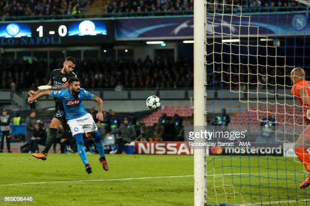 Nicolas Otamendi of Manchester City scores a goal to make it 11 during the UEFA Champions League group F match between SSC Napoli and Manchester City...