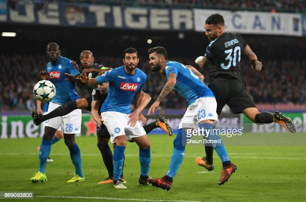 Nicolas Otamendi of Manchester City scores his sides first goal during the UEFA Champions League group F match between SSC Napoli and Manchester City...