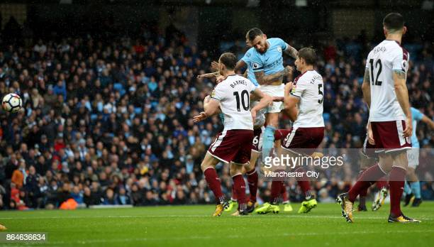 Nicolas Otamendi of Manchester City scores his side's second goal during the Premier League match between Manchester City and Burnley at Etihad...
