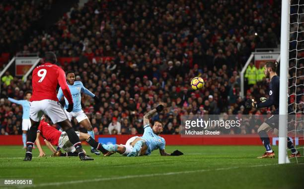 Nicolas Otamendi of Manchester City scores the 2nd Manchester City goal during the Premier League match between Manchester United and Manchester City...