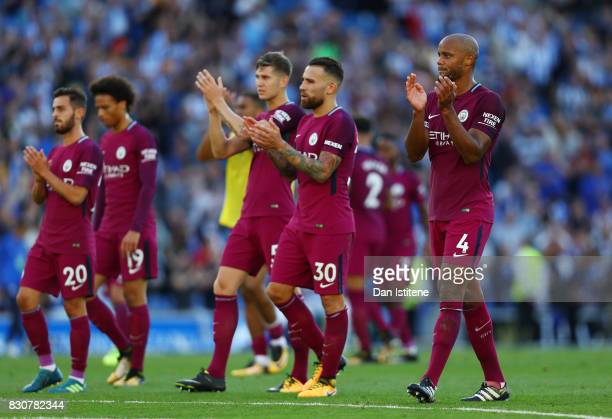 Nicolas Otamendi of Manchester City shows appreciation to the fans after the Premier League match between Brighton and Hove Albion and Manchester...