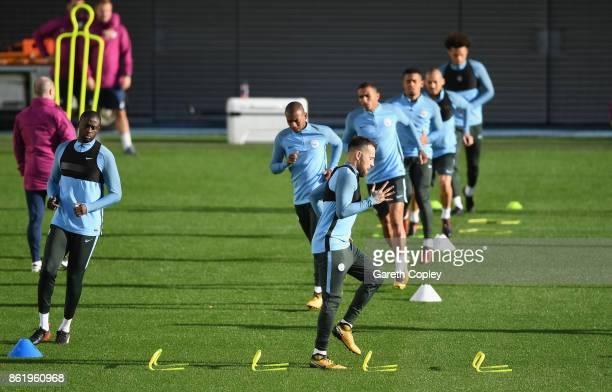 Nicolas Otamendi of Manchester City trains during the Manchester City Training Session at the Etihad Stadium on October 16 2017 in Manchester England
