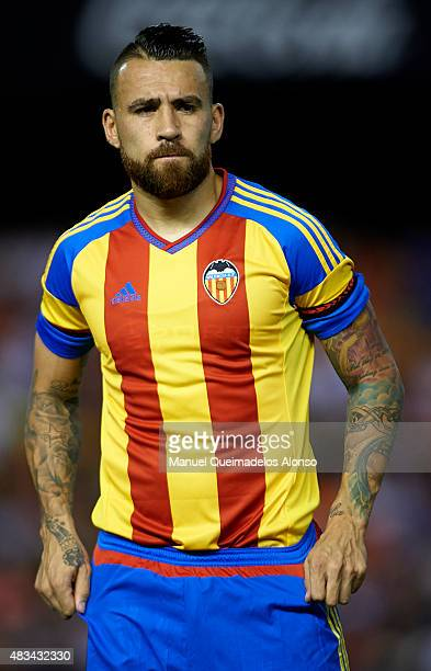 Nicolas Otamendi of Valencia looks on prior to the preseason friendly match between Valencia CF and AS Roma at Estadio Mestalla on August 8 2015 in...