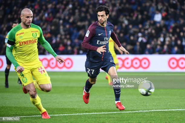 Nicolas Pallois of Nantes and Javier Pastore of PSG during the Ligue 1 match between Paris Saint Germain and Nantes at Parc des Princes on November...