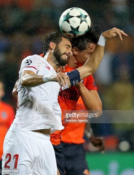 Nicolas Pareja of Sevilla FC in action during the UEFA Champions League playoff match between Medipol Basaksehir and Sevilla FC at Basaksehir Fatih...