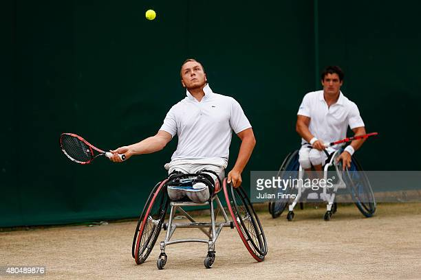 Nicolas Peifer of France and Gustavo Fernandez of Argentina in action in the Wheelchair Gentlemens Doubles Final against Gordon Reid of Great Britain...