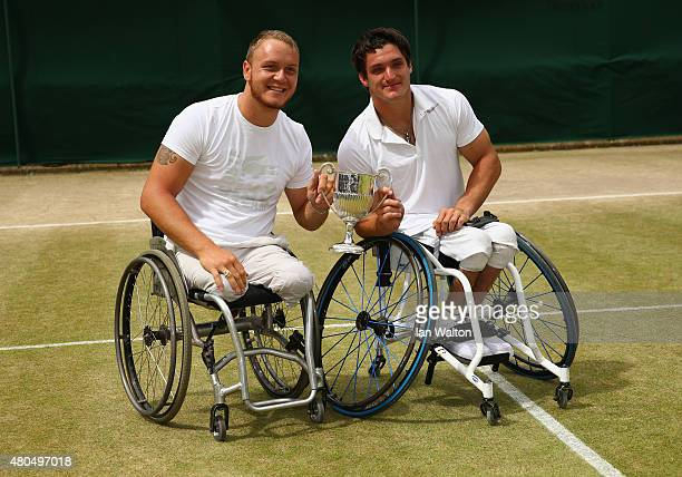 Nicolas Peifer of France and Gustavo Fernandez of Argentina pose with the winners trophy after the Final Of The Wheelchair Gentlemen's Doubles...