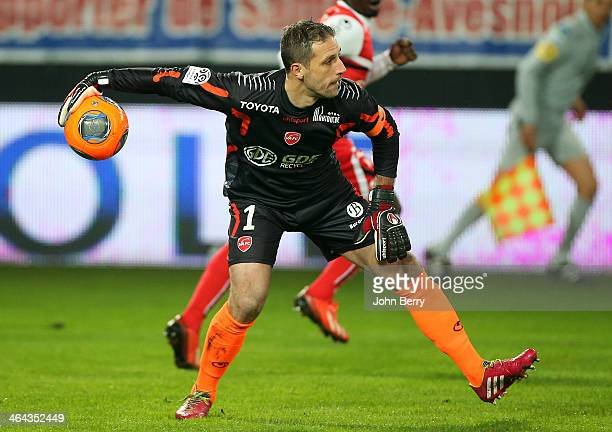 Nicolas Penneteau goalkeeper of Valenciennes in action during the french Ligue 1 match between Valenciennes FC and SC Bastia at the Stade du Hainaut...