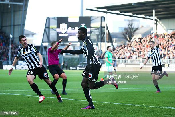 Nicolas Pepe of Angers jubilates after scoring the first goal during the French Ligue 1 match between Angers and Saint Etienne on November 27 2016 in...