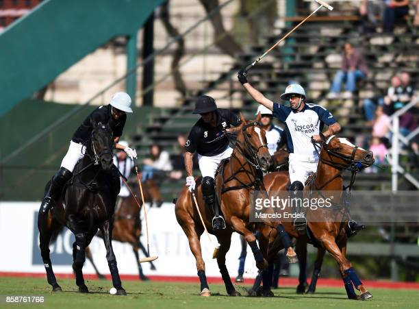 Nicolas Pieres of Ellerstina kicks the ball during a polo final match between La Dolfina and Ellerstina as part of 77th Tortugas Polo Open at Campo...